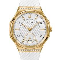 Bulova 98R237 Women's Curv Diamonds Case White Rubber Strap...