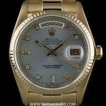 Rolex 18k Y/G O/P Silver Diamond Dial Day-Date Gents 18038