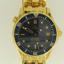 Omega Yellow gold Automatic Blue No numerals 36mm pre-owned Seamaster Diver 300 M