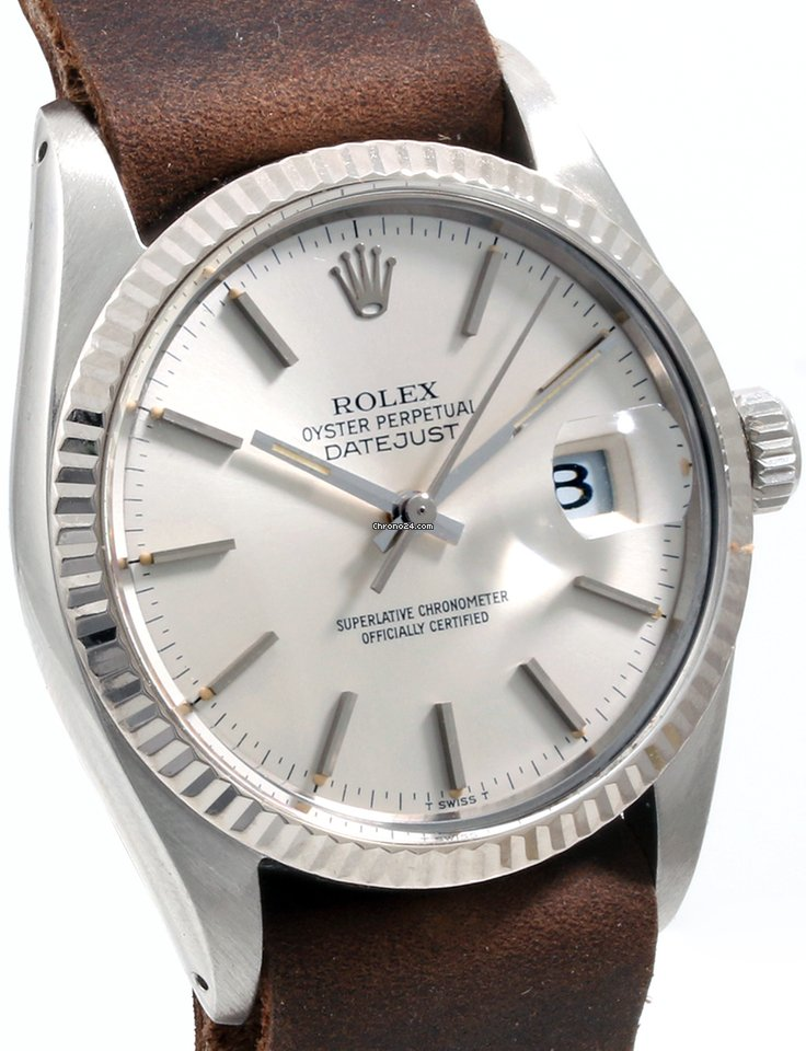 Rolex Steel 36mm Datejust Silver Dial Brown Leather Nato Quickset