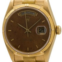 "Rolex 18K YG ""Bark"" Day Date with Burlwood Dial ref 18048..."