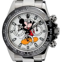 Rolex Daytona Steel White Mickey Mouse Dial Black Ceramic...