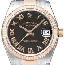 Rolex Datejust 31 Edelstahl Everose Oyster-Band Schwarz R