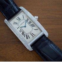 Cartier Tank Américaine pre-owned Silver Crocodile skin