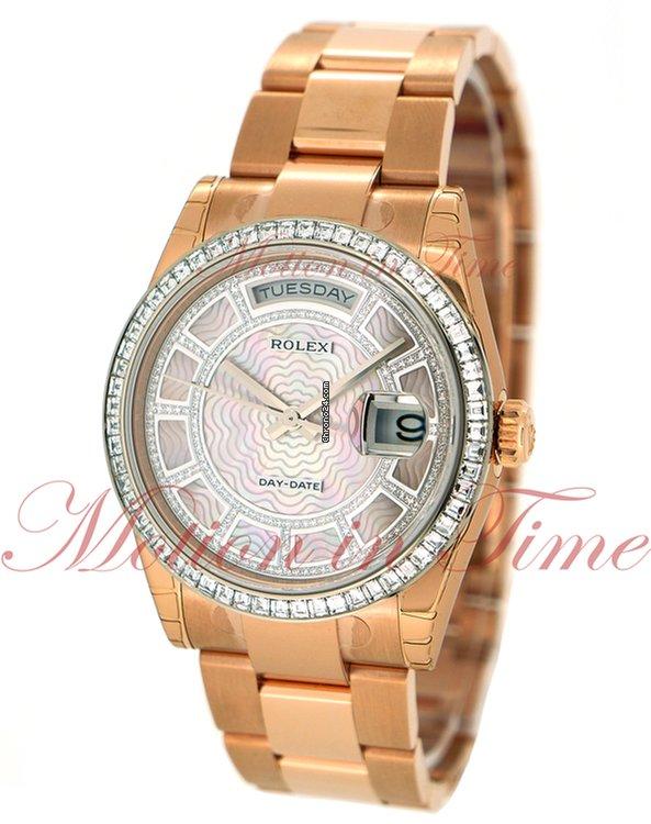 de9194cb757 Rolex Day-Date 36mm, Carousel Pink Mother of Pearl Diamond Dial, Baguette  Bezel - Everose Gold on Oyster Bracelet