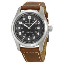 Hamilton Khaki Field Men's Brown Leather Strap Watch...