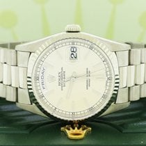Rolex White gold Automatic Silver 36mm pre-owned Day-Date 36