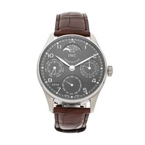 IWC White gold Automatic Grey Arabic numerals 44.2mm pre-owned Portuguese Perpetual Calendar