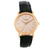 Patek Philippe Calatrava 18k Rose Gold Hobnail Bezel Watch...