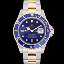 Rolex Submariner Date pre-owned Blue Yellow gold