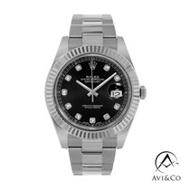 Rolex Datejust Steel 41mm Black No numerals