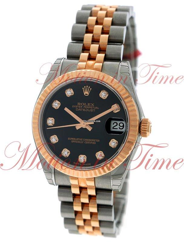 Rolex Datejust 31mm, Black Diamond Dial, Fluted Bezel , for