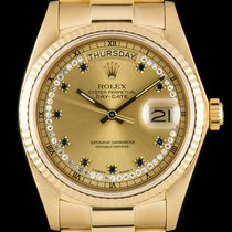 Rolex Day-Date Diamond & Sapphire String Dial 18k Yellow Gold