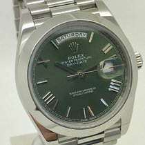 Rolex Day-Date 40 Green Dial Mens Platinum Watch Full Set