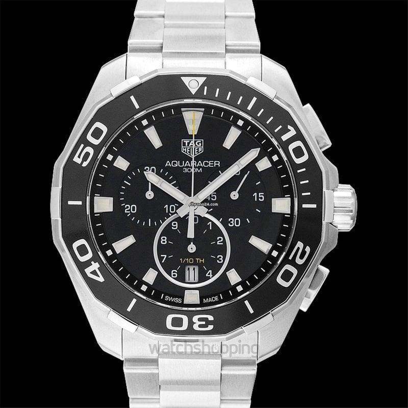 6c3a9d9ca99 TAG Heuer Aquaracer Chronograph 300M Black Steel 43mm -... for ...