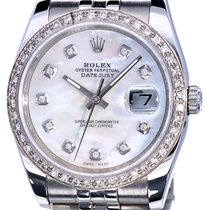 Rolex Oyster Datejust Jubilee Steel Pearl Dial Diamonds 36 mm