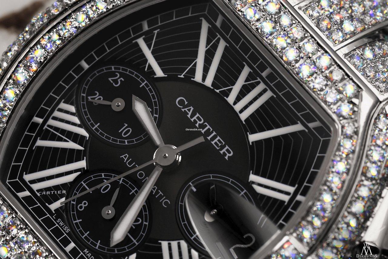 Diamond Box Xl >> Cartier 23 00ct Diamond Roadster Xl W62020x6 Black Dial