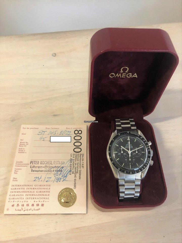 b0b97a2767c Omega Speedmaster Moonwatch 145.0022 Box   Swiss Papers 1982 for ...