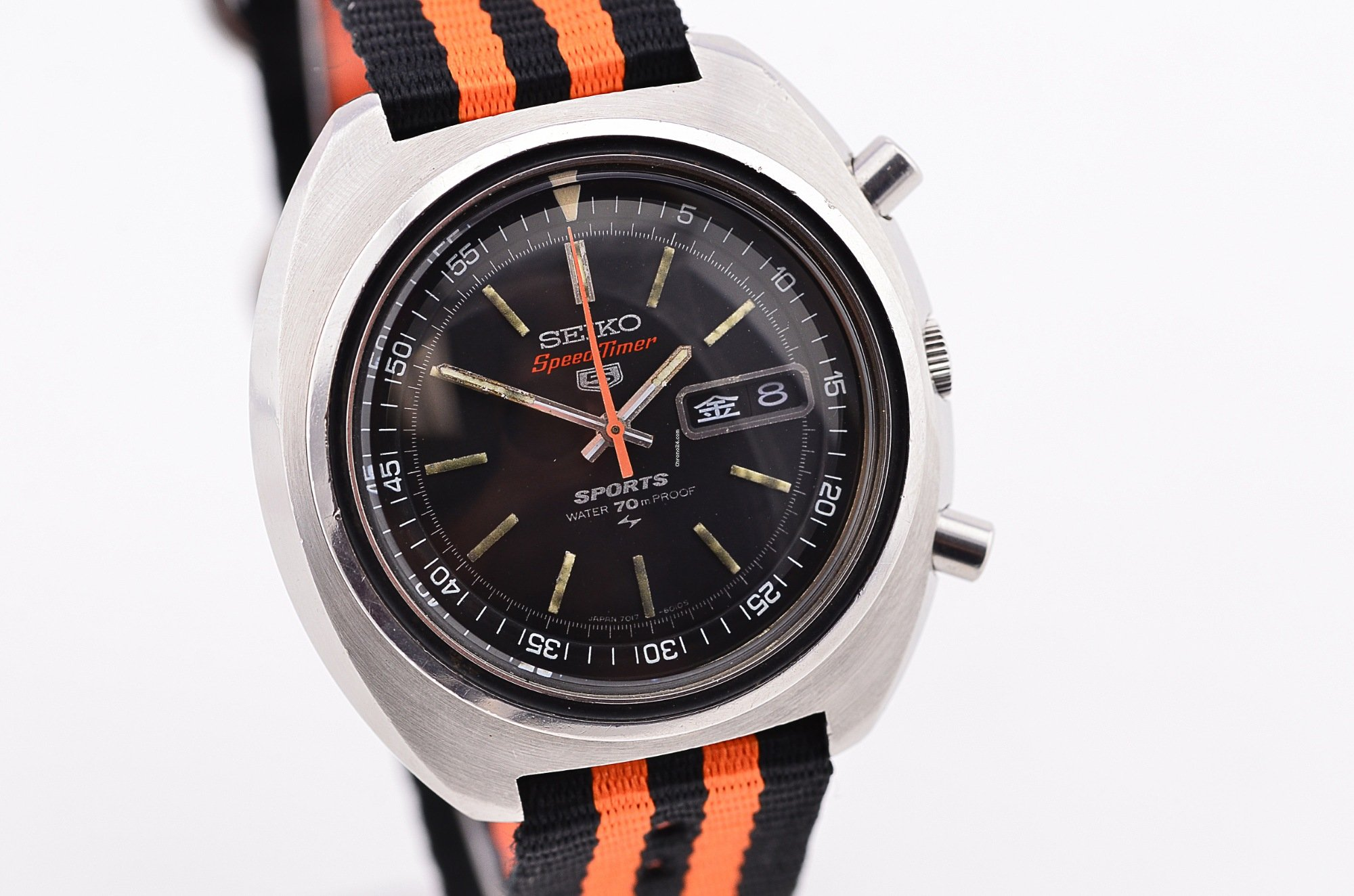 98fd43ee9 Seiko 5 Sports SpeedTimer Chronograph Watch 7017-6010 JDM Date for ...