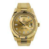 Rolex Day-Date II Gelbgold 41mm Champagnerfarben Keine Ziffern