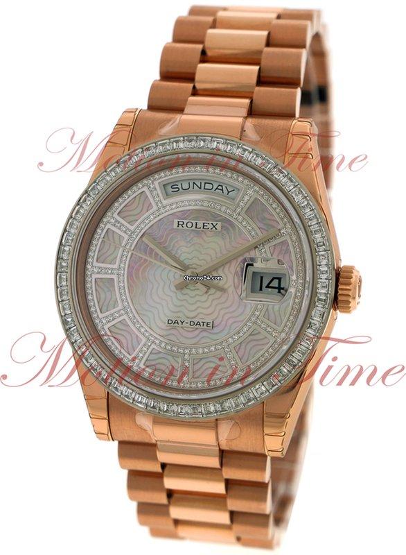 bf3481813d5 Rolex Day-Date 36mm President, Carousel Pink Mother of Pearl Diamond Dial,  Baguette Bezel - Everose Gold on President Bracelet