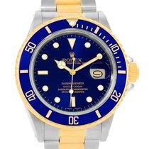 Rolex Submariner Steel Yellow Gold Blue Dial Watch 16803 Box...