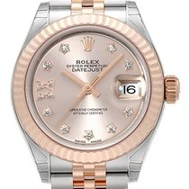 Rolex Lady-Datejust Or/Acier 28mm Rose Romains