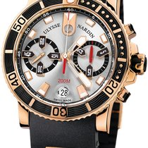 Ulysse Nardin Rose gold Automatic Silver No numerals 42mm new Maxi Marine Diver
