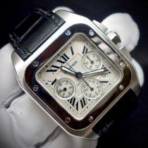 Cartier Santos 100 używany 41mm Srebrny Chronograf Data Skóra krokodyla