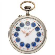 Roskopf pocket watch with decorated enamelled dial