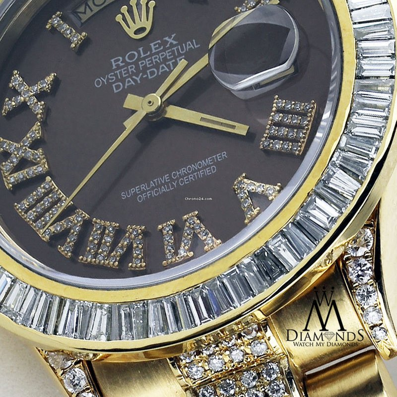 Rolex Mens Rolex President 18kt Yellow Gold Day Date Diamond For