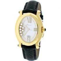 Chopard Happy Sport Oval Yellow Gold 7 Floating Diamonds 30MM...