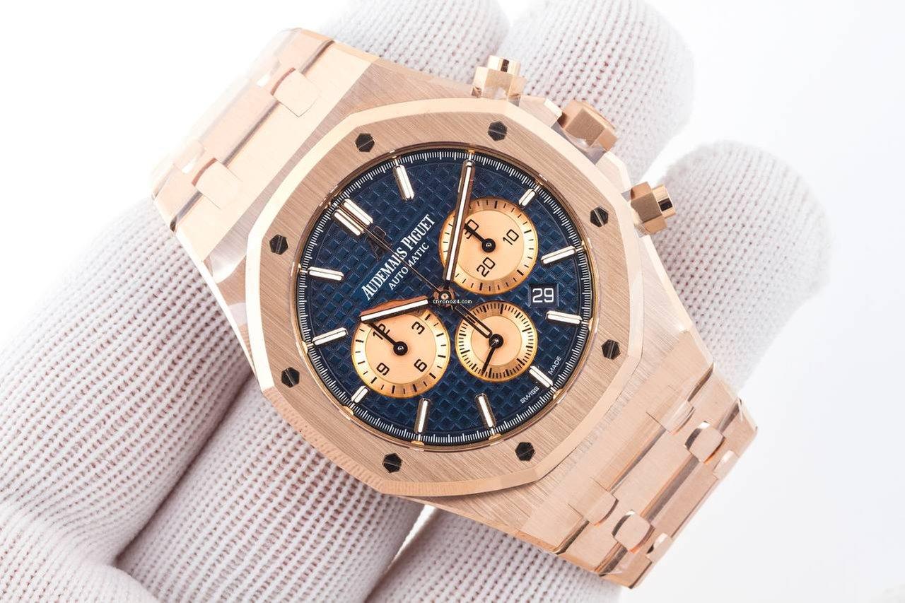df648f3df35d Audemars Piguet Royal Oak Chronograph Rose Gold Blue Dial for ...
