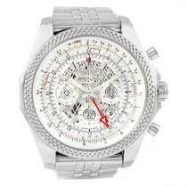 Breitling Bentley Gmt Chronograph Silver Dial Watch Ab0431 Box...