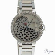 Cartier Ballon Bleu GM Automatic Diamonds Leopard MOP Dial NEW