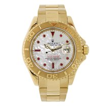 Rolex YACHT-MASTER 40mm 18K Yellow Gold  White MOP Ruby Dial...