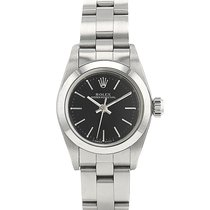 Rolex Oyster Perpetual Steel 25mm Black No numerals