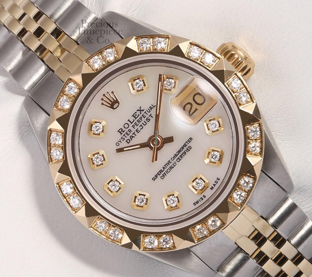 42127ac7adb Rolex Lady Datejust 26mm 2 Tone 18k Pyramid Diamond Bezel... for Rp.  55,988,096 for sale from a Trusted Seller on Chrono24