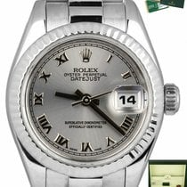 Rolex White gold Automatic Grey Roman numerals 26mm pre-owned Lady-Datejust