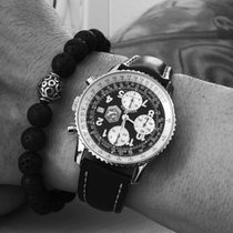 Breitling Old Navitimer gebraucht 41mm Schwarz Chronograph Datum Tachymeter Leder