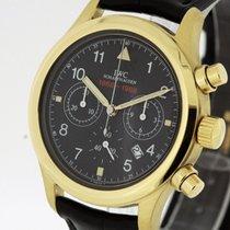 IWC Yellow gold Quartz Black 36mm pre-owned Pilot Chronograph
