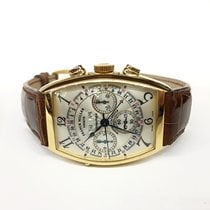 Franck Muller Cintrée Curvex Yellow gold 34mm Silver Arabic numerals