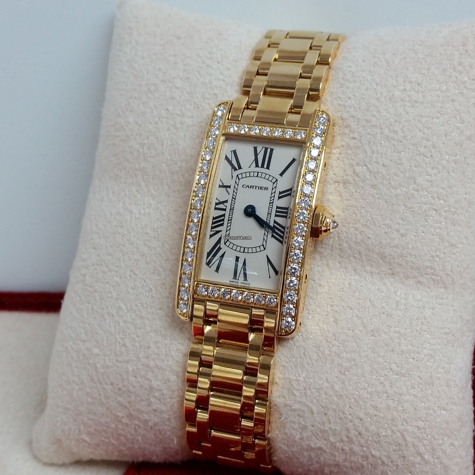 Cartier TANK AMERICAINE 18K GOLD & FACTORY DIAMONDS WB7072K2 for $17,680  for sale from a Seller on Chrono24