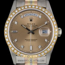 Rolex 18k Tridor O/P Rose Diamond Dial Diamond Set Day-Date 18349