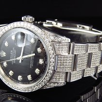 Rolex Full Iced Mens Rolex 36 MM Datejust Oyster Stainless...