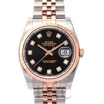 ロレックス (Rolex) Datejust Gold/Steel Black/18k rose gold Ø36 mm -...