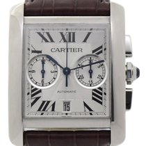 Cartier Tank MC pre-owned 34mm Silver Chronograph Date Fold clasp