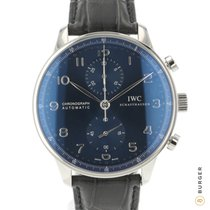 IWC Portuguese Chronograph подержанные 41mm Синий Хронограф Кожа аллигатора
