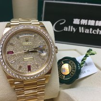 Rolex Cally - 40MM 228348 RBR Day Date II PAVE Diamonds RUBY Dial