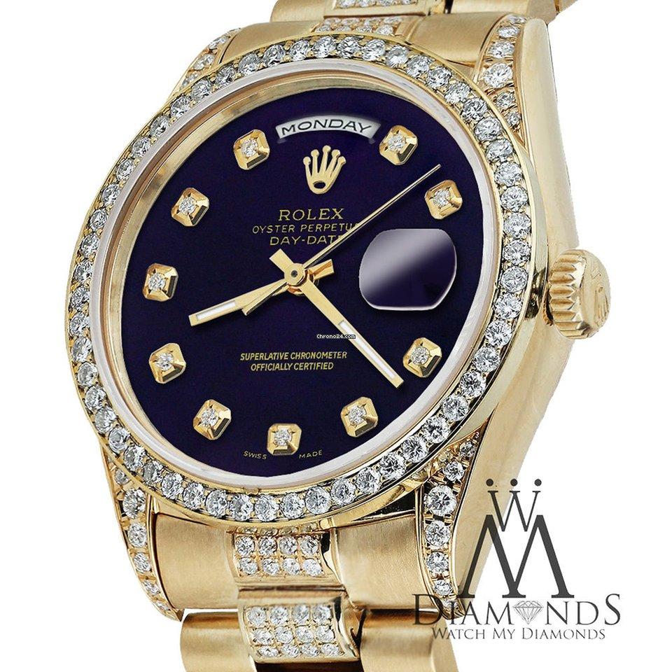 Rolex Presidential Day Date Purple Dial Diamond Watch 16018